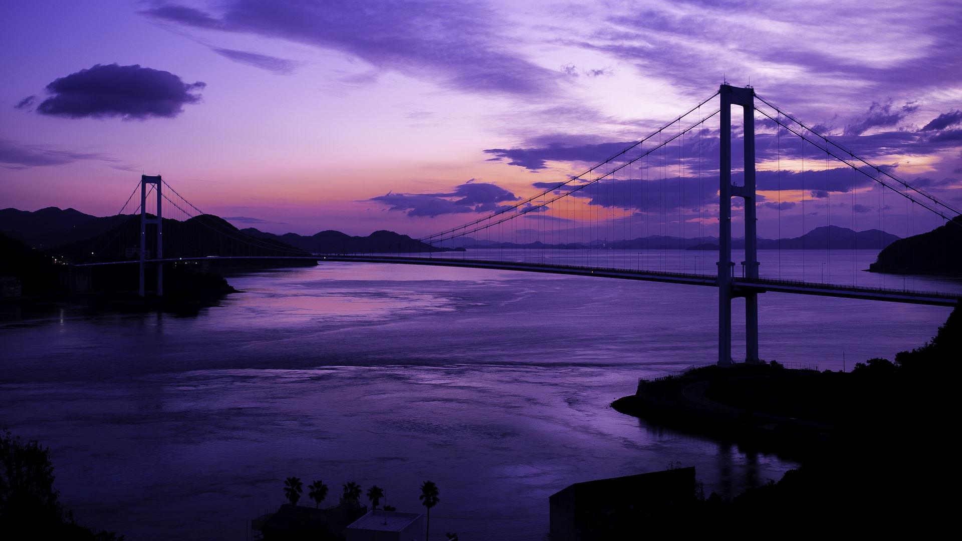 広島県 安芸灘大橋の夜明け